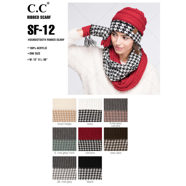 "C.C SF-12  Houndstooth ribbed infinity scarf  - 100% Acrylic - One size fits most - W:13"" X L:60"" - Matches C.C HAT-12 and CG-12"