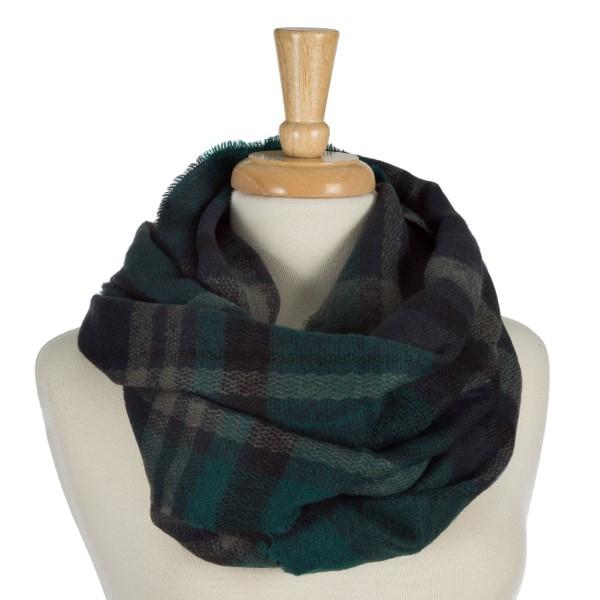 Wholesale heavyweight plaid infinity scarf acrylic
