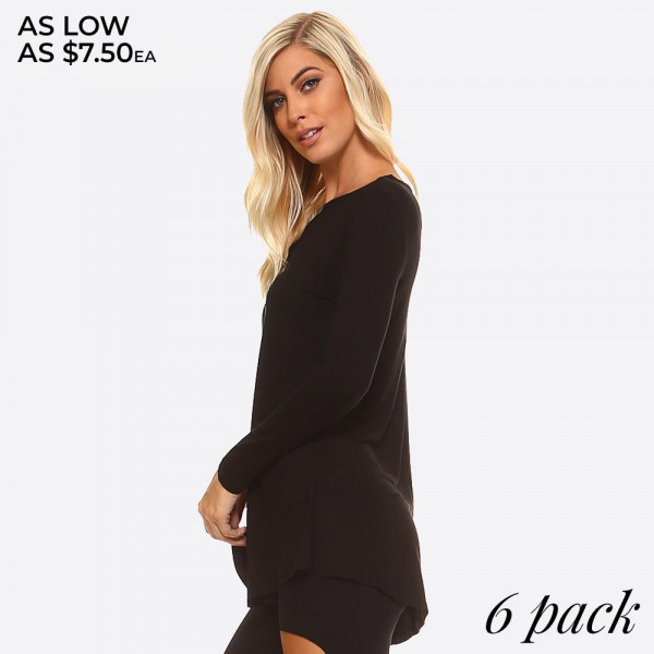 Women's Long Sleeve Tunic Top Featuring V Cut Detail. (6 Pack)  • Lightweight jersey tunic • Crew neckline • Long sleeves • Relaxed silhouette  • Pullover style • Rayon/spandex • Imported  - Pack Breakdown: 6 Shirts Per Pack - Sizes: 2-S / 2-M / 2-L  - 95% Rayon / 5% Spandex