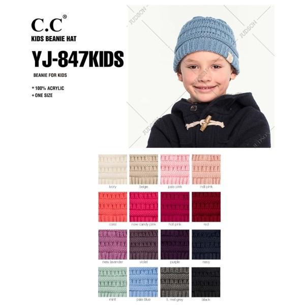 C.C YJ-847KIDS Kids Solid Knit Beanie  - One size fits most Kids  - 100% Acrylic