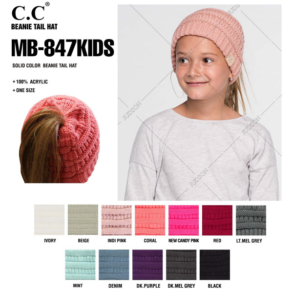 """C.C MB-847-KIDS Solid color messy bun beanie for kids  - 100% Acrylic - Band circumference is approximately: 16"""" unstretched  18"""" stretched - Approximately 6"""" long from crown to band - Fit varies based on child's head height and shape"""