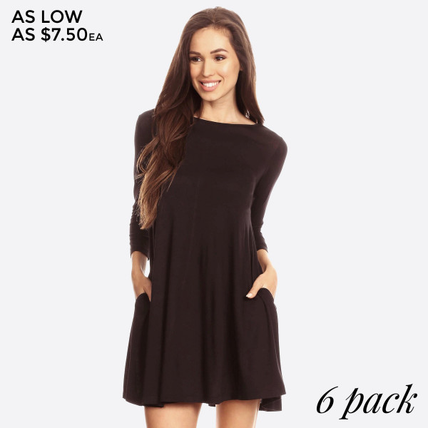 "Women's Solid Color Swing Tunic Dress Featuring 3/4 Sleeves. (6 PACK)  • Relax Scoop Neckline • ¾ Fitted Sleeves • Side Pockets • Swing Style Bodice • Solid Color • Closure Style: Pullover • Hand Wash Cold/Tumble Dry/Iron Low/Do not Dry Clean • Import  - Pack Breakdown: 6pcs/pack - Sizes: 2-S / 2-M / 2-L  - Approximately 34"" L  - 95% Rayon / 5% Spandex"