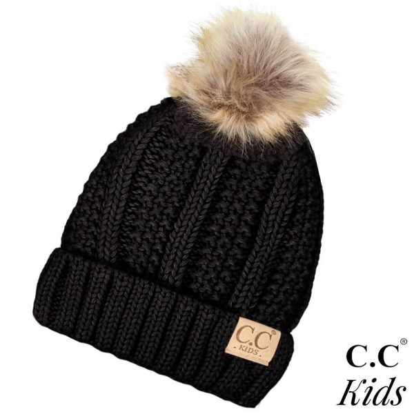 Wholesale c C KIDS Kids Fur Lined Chunky Knit Faux Fur Pom Beanie Acrylic One fi