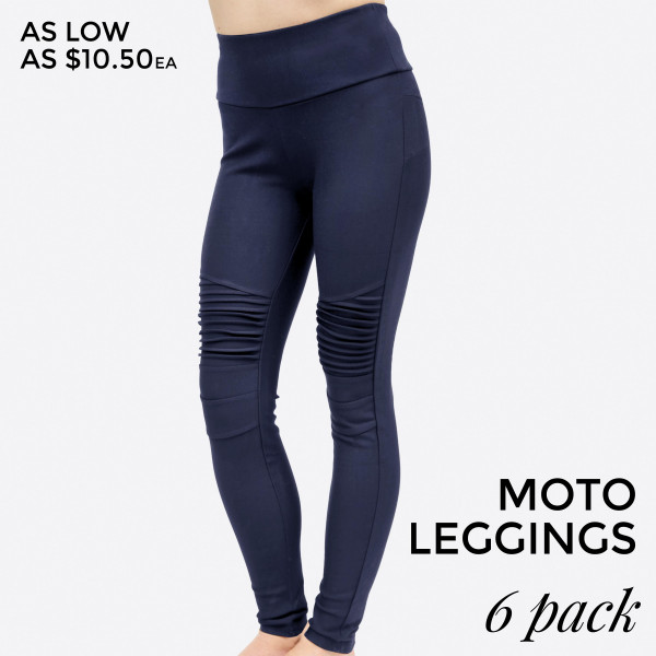 Navy Blue Moto Leggings With No Front Or Back Pockets 68 Cotton 27 Polyester And 5 Spandex Sold In Packs Of Six One Small Two Mediums Two Larges One Extra Large
