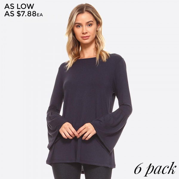 "Women's Solid Bell Sleeve Tunic Top. (6 PACK)  • Round Neckline • Long bell sleeves • Relaxed Fit Through Body • Straight Hem • Soft, Medium-Weight Jersey • Closure Style: Pullover • Import  - Pack Breakdown: 6pcs/pack - Sizes: 2-S / 2-M / 2-L - Approximately 30"" L - 95% Rayon / 5% Spandex"