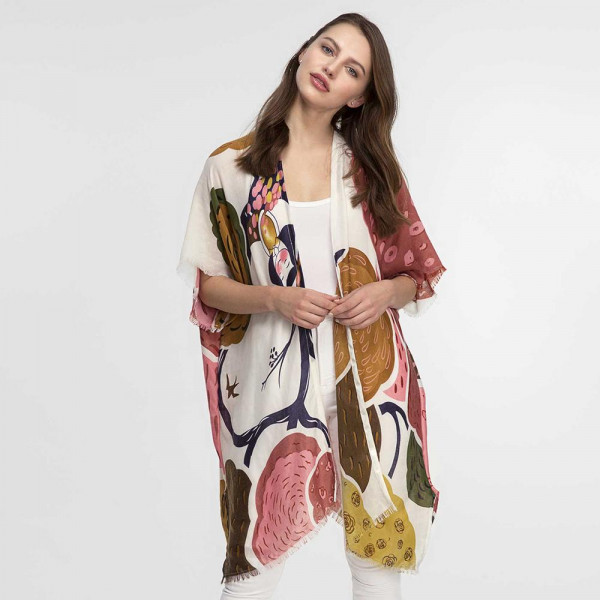 Wholesale lightweight short sleeve kimono tropical print frayed bottom edge visc