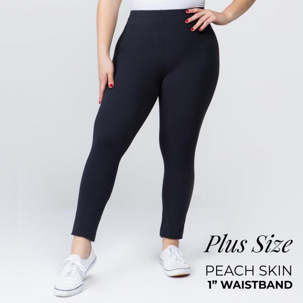 Wholesale women s Plus Mix Brand Solid Peach Skin Leggings Elastic Waistband Ful