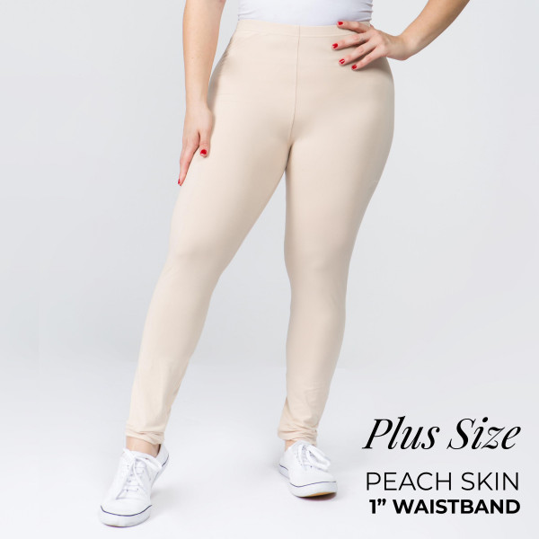 "Women's Plus Size New Mix Brand 1"" Waistband Solid Peach Skin Leggings.  - 1"" Elastic Waistband - Full-Length - Inseam approximately 28""  - One size fits most plus 16-20 - 92% Polyester / 8% Spandex"