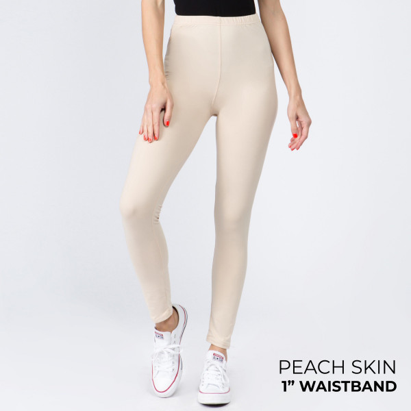 Wholesale women s Mix Brand Waistband Solid Peach Skin Leggings Elastic Waistban