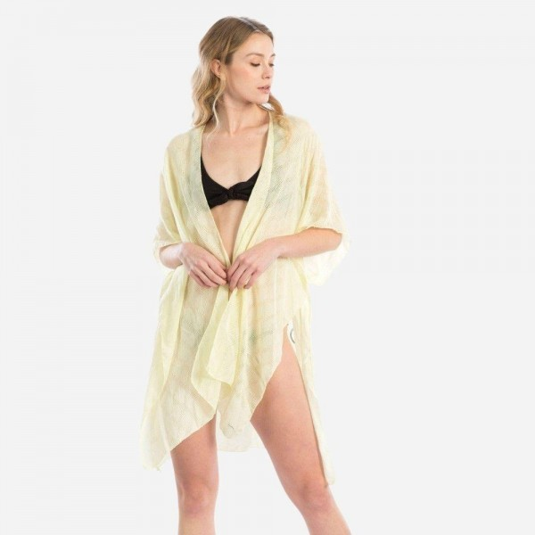 "Women's Lightweight Sheer Kimono Featuring ""Mermaid off Duty"" Back Detail.  - One size fits most 0-14 - Approximately 35"" in Length - 100% Viscose"