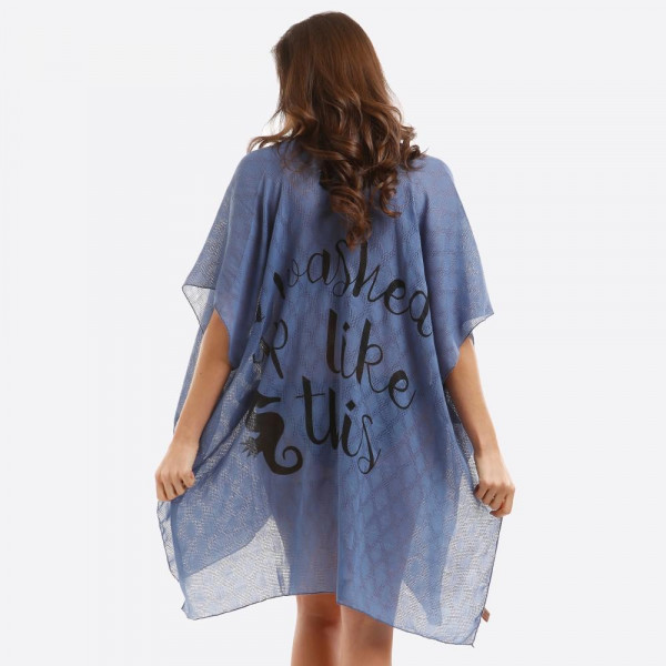 Wholesale women s Lightweight Sheer Kimono I washed up like Back Details One fit