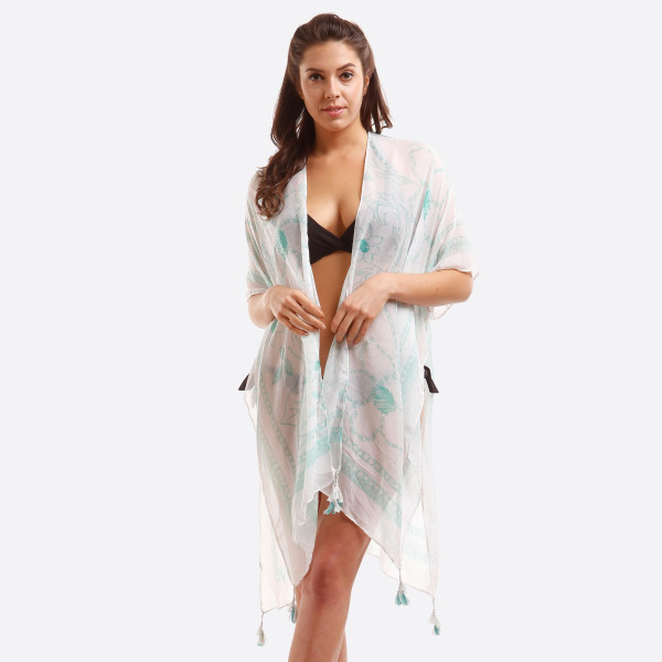 Wholesale lightweight white kimono subtle floral print tassels ends polyester On