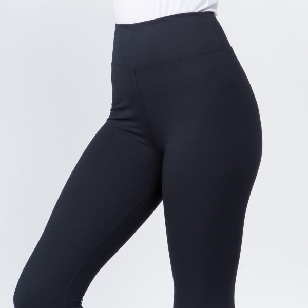 """Women's New Mix Brand 3"""" Waistband Solid Peach Skin Leggings.  - 3"""" Elastic Waistband - Full-Length - Inseam approximately 28""""  - One size fits most 0-14 - 92% Polyester / 8% Spandex"""