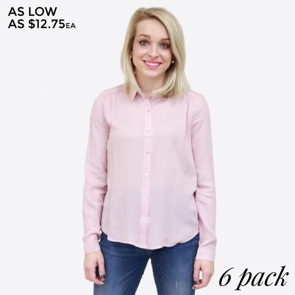 Lightweight, button up top with a monochromatic polkadot print. 100% rayon. Sold in packs of six - two small, two medium, two large.