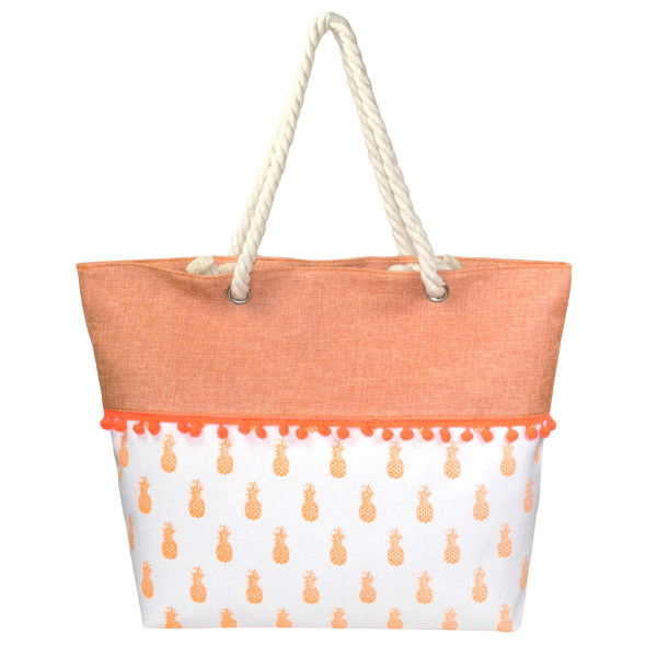 Wholesale canvas tote bag pom pom trim top zipper closure rope handles lining in