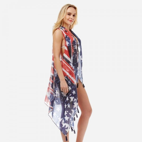 Women's Lightweight American Flag Tassel Vest.  - One size fits most 0-14 - Approximately 33' in Length in Back  - 100% Polyester