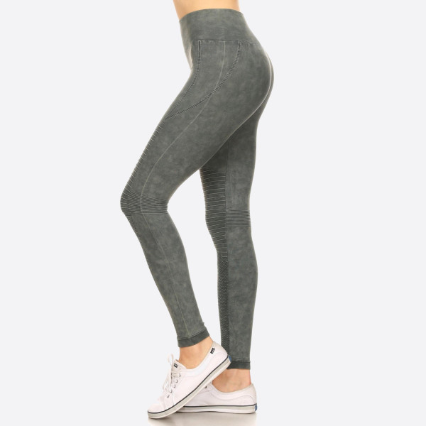 "Women's Stone Wash Seamless Moto Leggings. (6 Pack)  • Stone Wash, Super Stretchy and Soft • Moto Style Seaming • Skinny Fit • Pull-On Style • Mid Rise • Care: • Imported  - Pack Breakdown: 6 Pair Per Pack - Sizes: 2 S/M / 2-M/L / 2-L/XL - Inseam approximately 28"" L - 94% Nylon / 6% Lycra"