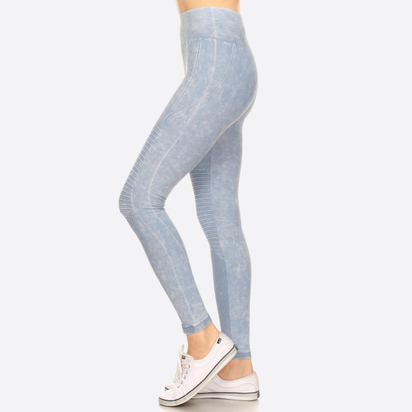 "Women's Stone Wash Seamless Moto Leggings.  • Stone Wash, Super Stretchy and Soft • Moto Style Seaming • Skinny Fit • Pull-On Style • Mid Rise • Care: • Imported  - Pack Breakdown: 6pcs/pack - Sizes: 2 S/M / 2-M/L / 2-L/XL - Inseam approximately 28"" L - 94% Nylon / 6% Lycra"