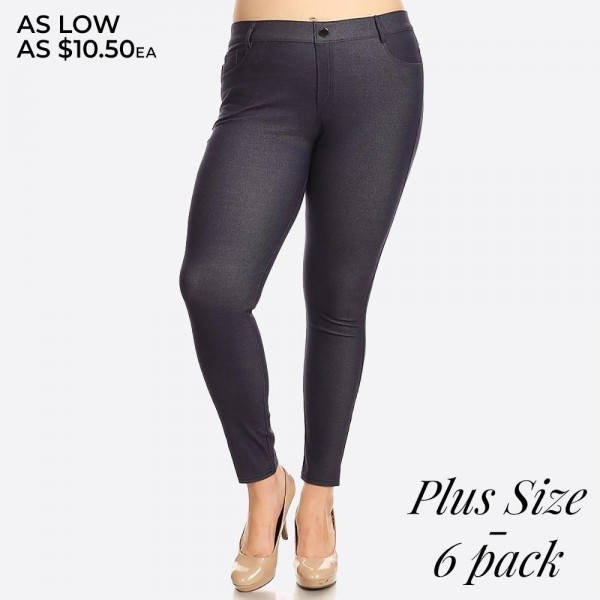 "Women's Classic Plus Size Skinny Jeggings.  • Full length jeggings featuring a light sheen and jean-style construction • Lightweight, breathable cotton-blend material for all day comfort • Belt loops with 5 functional pockets • Shake Head Button • Super Stretchy • Pull up Style  - Pack Breakdown: 6pcs / pack - Size: 2-XL / 2-2XL / 2-3XL - Inseam approximately 29"" L - 70% Cotton / 25% Polyester / 5% Spandex"