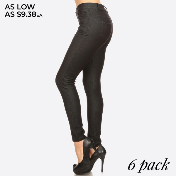 "Women's Classic Skinny Jeggings.  • Full length jeggings featuring a light sheen and jean-style • Lightweight, breathable cotton-blend material   • Belt loops with 5 functional pockets  • Shake Head Button  • Super Stretchy  • Pull up Style    - Pack Breakdown: 6pcs/pack - Size: 2-S / 2-M / 2-L  - Inseam approximately 29"" L - 70% Cotton / 25% Polyester / 5% Spandex"