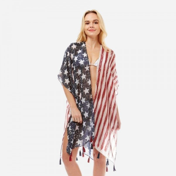 "Women's Lightweight American Flag Tassel Kimono.  - One size fits most 0-14 - Approximately 35"" in Length - 100% Polyester"