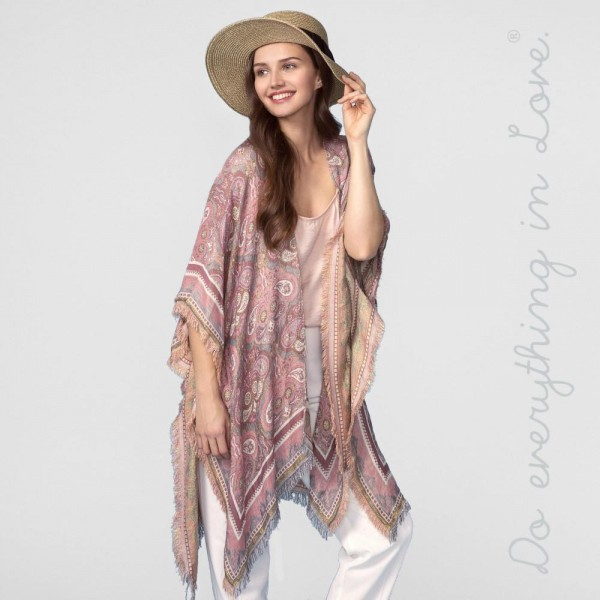 """Do everything in Love brand women's lightweight paisley print fringe kimono.  - One size fits most 0-14 - Approximately 37"""" L  - 100% Viscose"""