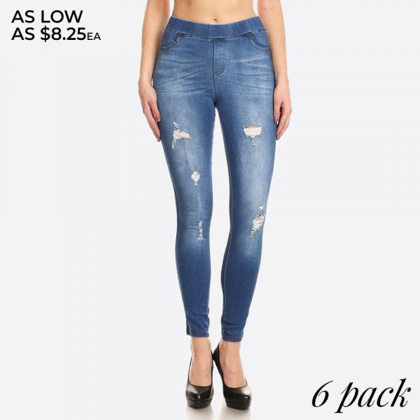 Women's Classic Distressed Skinny Jeggings. These jeggings are styled to resemble a pair of jeans. Get both comfort and style!  • Super Stretchy  • Pull up Style  Composition: 76% Cotton, 22% Polyester, 2% Spandex  Pack Breakdown: 6pcs/pack. 2S: 2M: 2L: