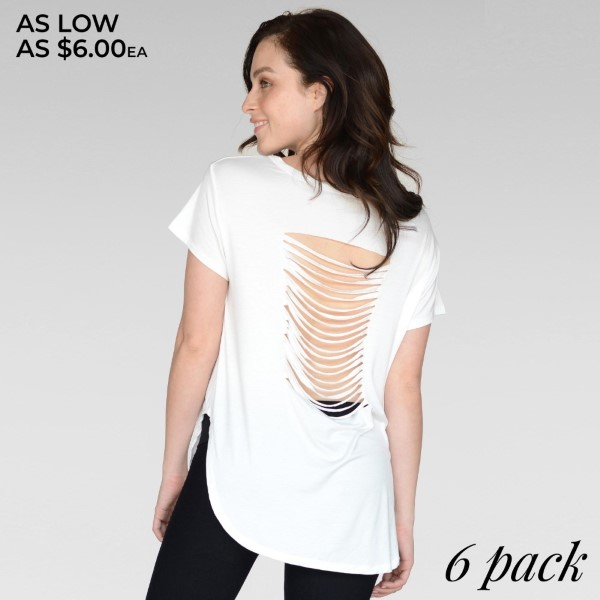 "Women's Solid Color Distressed Slashed Back Active Tee.  • Slashed-Back Detail  • Curved Hem  • Short Sleeves  • Relax Fit  • Round Neckline  • Imported   - Pack Breakdown: 6pcs/pack - Sizes: 2-S / 2-M / 2-L  - Approximately 30"" L - 95% Rayon / 5% Spandex"
