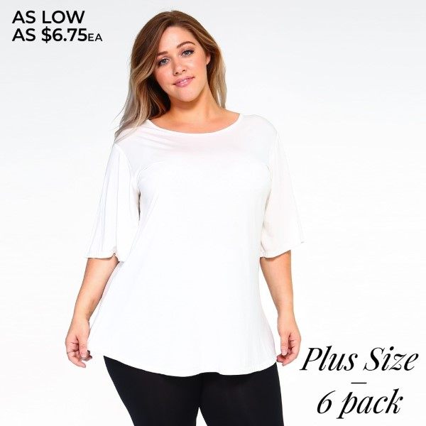 "Women's Plus Size Solid Color Bell Sleeve Tunic Top.  • Crew-neck • Short sleeves • Loose-fit bodice • Pullover styling • Curved hemline • Super Soft • Imported  - Pack Breakdown: 6pcs/pack - Sizes: 2-XL / 2-2XL / 2-3XL - Approximately 25"" L  - 95% Rayon / 5% Spandex"