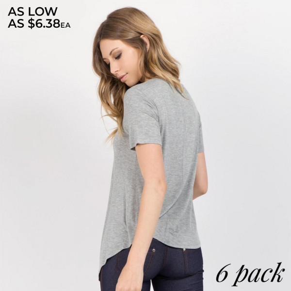In a soft tri-blend fabrication with moisture-wicking properties to keep you cool - this active top features an asymmetrical hem with slits throughout - allowing you to create an effortless - wrapped look. 