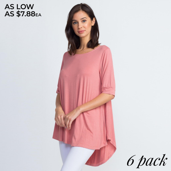 This top is far from basic featuring short sleeves, an edgy lace-up placket, and an oversized silhouette.   -Round neckline  -Short sleeves with lace-up placket and grommets  -Oversized silhouette  -Soft and stretchy  -Imported   Content: 95% Rayon, 5% Spandex.   Pack Breakdown: 6pcs/pack. 2S: 2M: 2L.