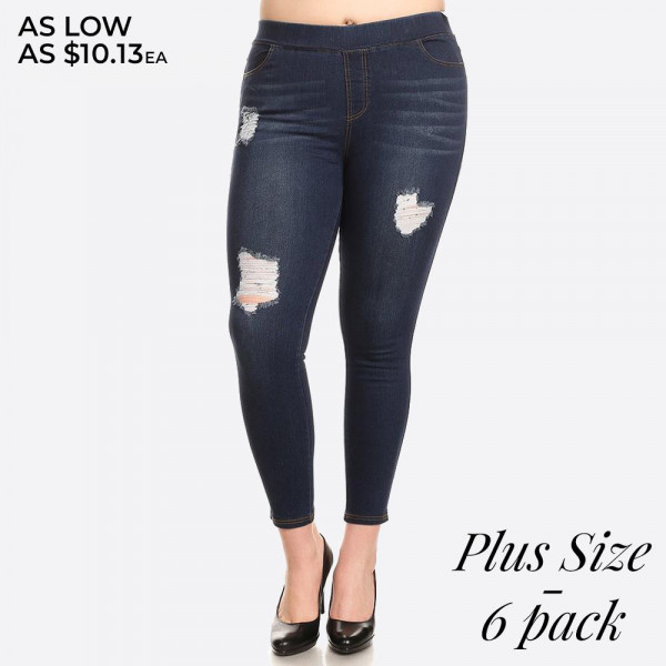 Women's Plus Size Dark Denim Distressed Skinny Jeggings.   - Super stretchy  - Pull on style - Denim shade and tone may vary  Please note, this brand runs very small. Be sure to check measurements on size chart for the most accurate fit.   - Pack Breakdown: 6pcs/pack - Sizes: 2-XL / 2-1XL / 2-2XL - 76% Cotton / 22% Polyester / 2% Spandex