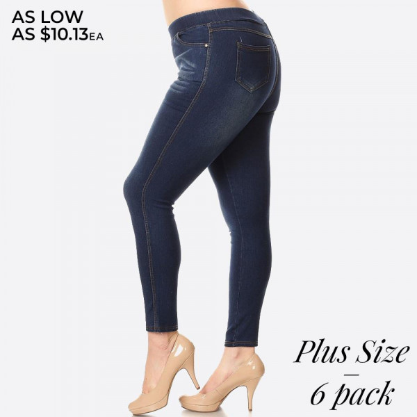Women's Classic Dark Denim Skinny Jeggings.   - Super stretchy  - Pull on style - Denim shade and tone may vary  Please note, this brand runs very small. Be sure to check measurements on size chart for the most accurate fit.   - Pack Breakdown: 6pcs/pack - Sizes: 2-XL / 2-1XL / 2-2XL - 76% Cotton / 22% Polyester / 2% Spandex
