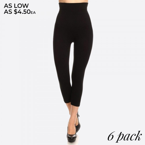 "These high waisted compression capri leggings have a compression control top that flattens your tummy and contours your waistline for an hourglass silhouette.   - Skinny leg design  - Does not ball or pill  - Comfortable and easy pull-on style  - Solid color  - Very Stretchy  - One Size Fits Most  - Tummy Control  - Hight Waist  - 8"" Waist Band   - 6 Pair Per Pack - One size fits most 0-14 - 55% viscose, 40% polyester, 5% spandex"