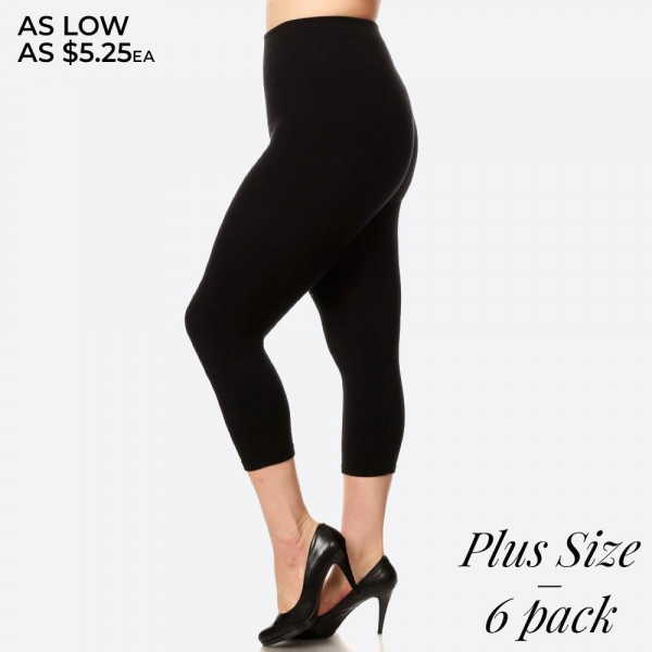 "These Plus Size high waisted compression capri leggings have a compression control top that flattens your tummy and contours your waistline for an hourglass silhouette.   - Skinny leg design  - Does not ball or pill  - Comfortable and easy pull-on style  - Solid color  - Very Stretchy  - One Size Fits Most  - Tummy Control  - Hight Waist  - 8"" Waist Band   - 6 Pair Per Pack - One size fits most Plus 16-22 - 55% viscose, 40% polyester, 5% spandex"