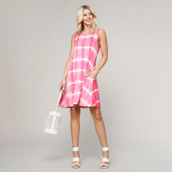 """Women's Sleeveless Tie-Dye Pocket Swing Dress.  - • Relax Scoop Neckline • Sleeveless • Side Pockets • Swing Style Bodice • Tie Dye • Closure Style: Pullover • Hand Wash Cold/Tumble Dry/Iron Low/Do not Dry Clean • Import  - Pack Breakdown: 6pcs/pack - Sizes: 2-S / 2-M / 2-L  - Approximately 34"""" L - 95% Rayon / 5% Spandex"""
