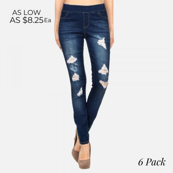 "Women's Classic Dark Denim Distressed Jeggings.*******BACK IN STOCK 2/26/20******  - 1.5"" Elastic Waistband - 4 Functional Pockets - Pull-On Style - Distressed Detail - Soft & Stretchy Material  - Pack Breakdown: 6 Pair Per Pack - Sizes: 2-S / 2-M / 2-L - Inseam (approx) 28"" L - 76% Cotton, 22% Polyester, 2% Spandex"