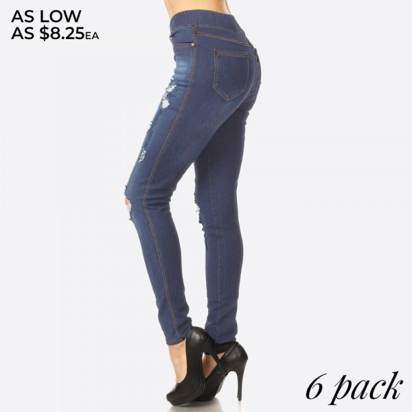 Women's Classic Distressed Skinny denim wash Jeggings. These jeggings are styled to resemble a pair of jeans. Get both comfort and style!