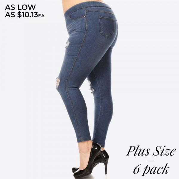 "Women's Plus Size Classic Distressed Skinny Jeggings.   - Super stretchy  - Pull on style - Elastic Waistband - Distressed Style - 4 Functional Pockets  - Pack Breakdown: 6pcs/pack - Sizes: 2-1XL / 2-2XL / 2-3XL - Inseam Approximately 27"" L - 76% Cotton / 22% Polyester / 2% Spandex  * Denim shade may vary. * Please note, this brand runs very small. Be sure to check measurements on size chart for the most accurate fit."