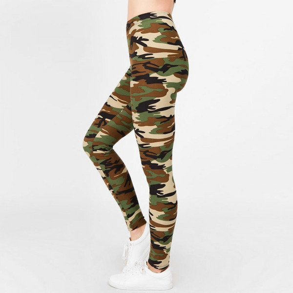 "Women's Classic Camouflage Print Leggings.  • Long, skinny leg design • Mid-Waist • Camouflage Print • Pull-on styling • Hand Wash Cold. Do not bleach. Hang Dry • Imported  - One size fits most 0-14 - Inseam (approx) 27"" L - 95% Polyester / 5% Spandex"