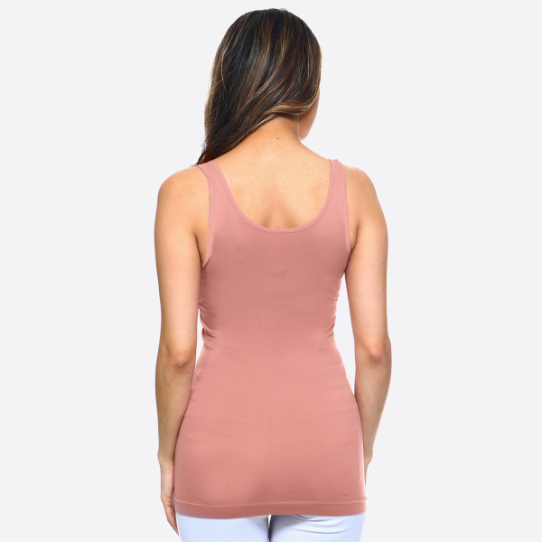 "Women's Solid Color Seamless Tank Top.  • Round Neckline • Body-con • Sleeveless • Fitted • Solid Color • Super Soft • Stretchy  - One size fits most 0-14 - Approximately 22"" L - 92% Nylon, 8% Spandex"