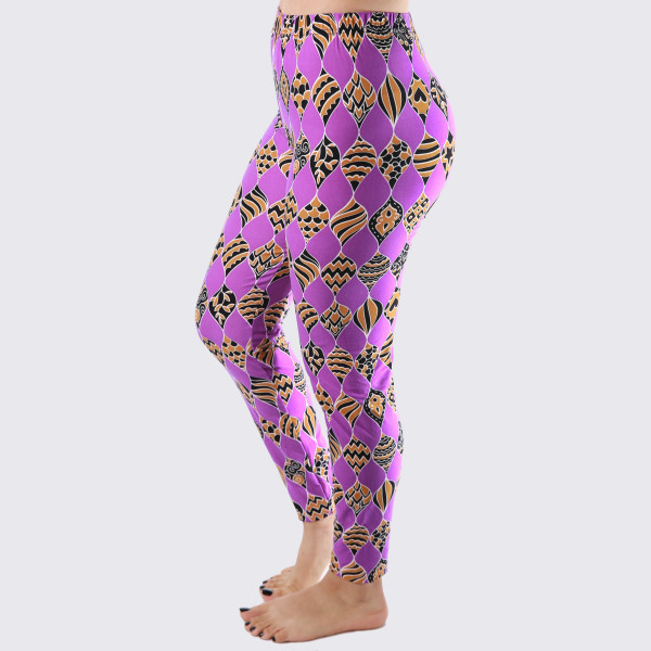 "These New Mix printed peach skin leggings are seamless, chic, and a must-have for every wardrobe. These lightweight, full-length leggings have a 1"" waistband. They are versatile, perfect for layering, and available in many unique prints. 92% Polyester and 8% Spandex. One size, fits US women's 0-14."