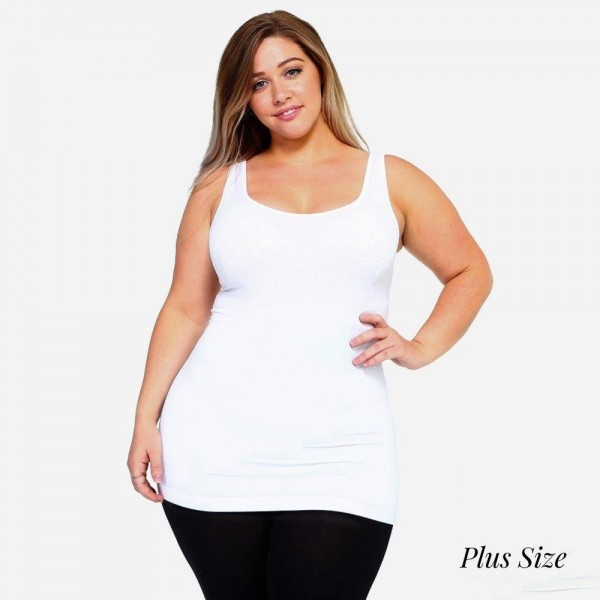 "Women's Plus Size Solid Color Seamless Tank Top.  • Round Neckline • Sleeveless • Curve-Hugging • Body Contouring • Solid Color • Super Soft • Stretchy  - One size fits most plus 16-22 - Approximately 22"" L  - 92% Nylon / 8% Spandex"