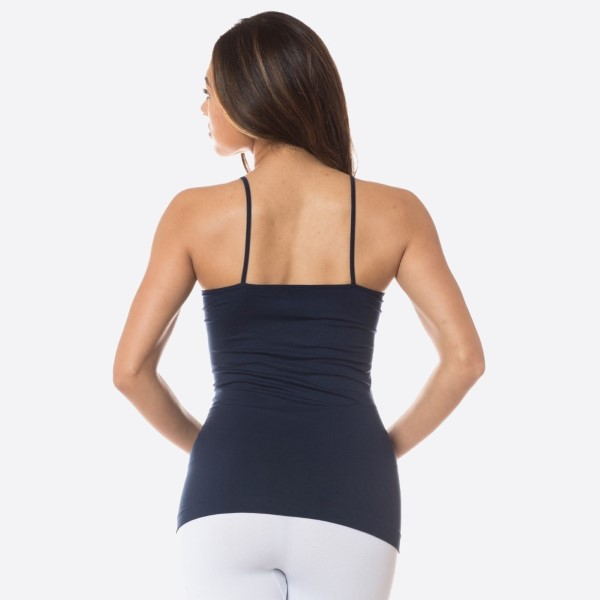 "Women's Solid Color Seamless Triple Criss Cross Camisole.  • Scoop-neck • Unique Crisscross Front • Spaghetti Straps • Ultra Soft • Stretchy Knit • Machine Wash • Imported  - One size fits most 0-14 - Approximately 22"" L - 92% Nylon / 8% Spandex"