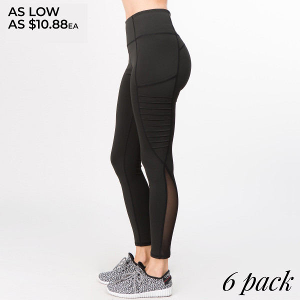 Women's Active Solid Workout Leggings Featuring Tech Pocket & Mesh Details.  • Specialty knit moto ridges are sewn into legs giving you movement and style  • compression waistband creates a streamline finish  • No chafing or irritation against skin with flat lock stitching  • power mesh bottom panel for breath-ability  • 4-way-stretch fabric for a move-with-you feel  • Flat-locked seaming for extra comfort  • Ankle-length  • Hand Wash Cold, Do Not Bleach, Hang Dry  • Imported   - Pack Breakdown: 6 Pair Per Pack - Sizes: 2-S: 2-M: 2-L  - 83% Nylon / 17% Spandex