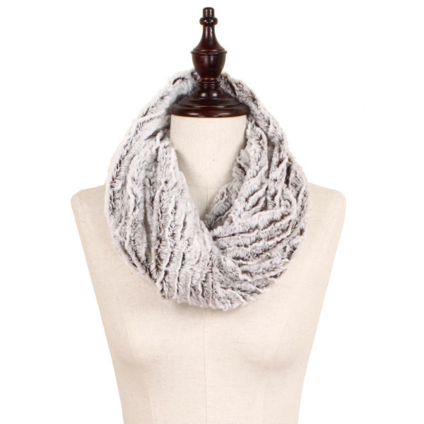 """Two Tone Faux Fur Tube Scarf.  - Approximately 11"""" W x 16"""" L - 100% Polyester"""