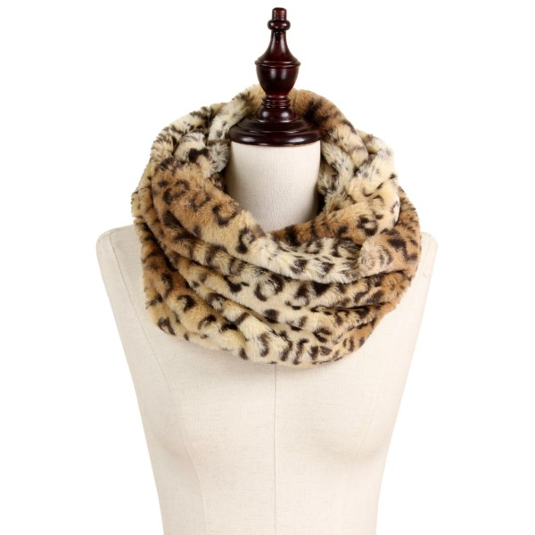 """Faux Fur Leopard Print Tube Scarf.  - Approximately 15"""" W x 15"""" L  - 100% Polyester"""