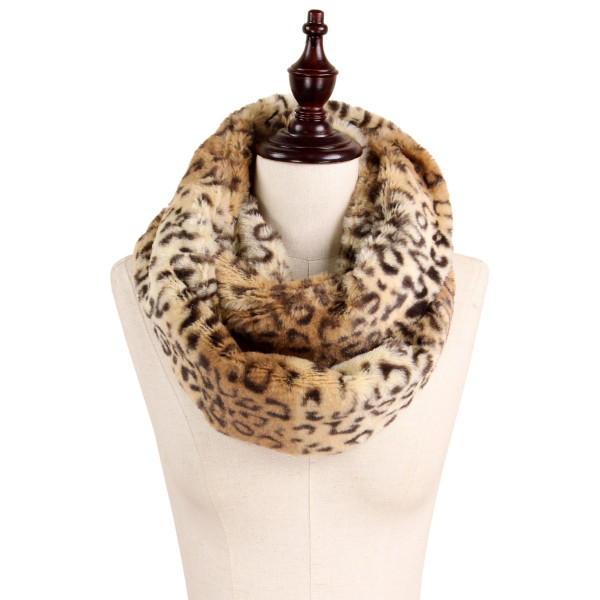 """Leopard Print Faux Fur Infinity Scarf.  - Approximately 7"""" W x 31"""" L  - 100% Polyester"""