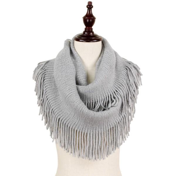 Wholesale lurex knit infinity scarf fringe acrylic