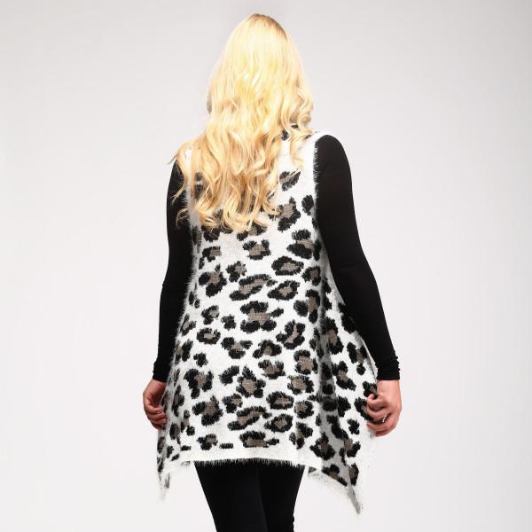 """Fuzzy Knit Leopard Print Vest.  - One size fits most 0-14 - Approximately 26"""" L - 100% Acrylic"""